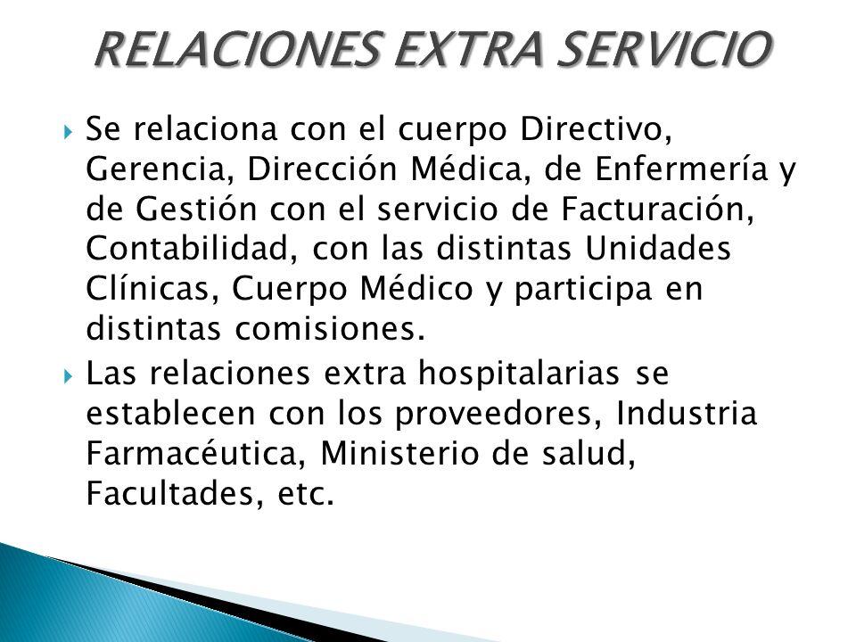 Se relaciona con el cuerpo Directivo, Gerencia, Dirección Médica, de Enfermería y de Gestión con el servicio de Facturación, Contabilidad, con las dis
