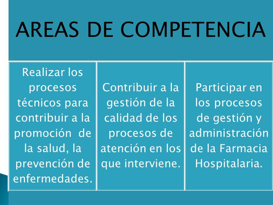 AREAS DE COMPETENCIA Realizar los procesos técnicos para contribuir a la promoción de la salud, la prevención de enfermedades. Contribuir a la gestión