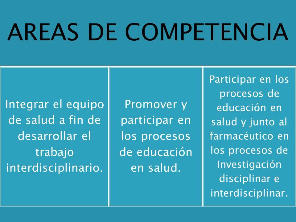AREAS DE COMPETENCIA Integrar el equipo de salud a fin de desarrollar el trabajo interdisciplinario. Promover y participar en los procesos de educació