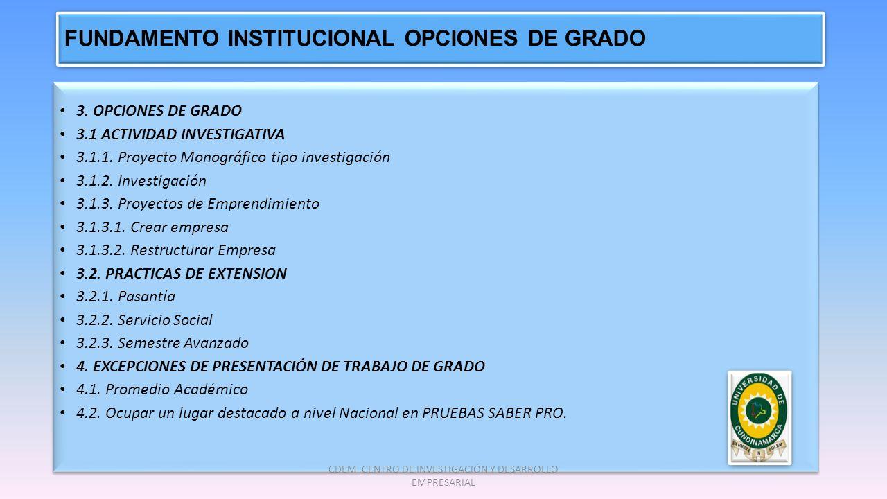 FUNDAMENTO INSTITUCIONAL OPCIONES DE GRADO 3. OPCIONES DE GRADO 3.1 ACTIVIDAD INVESTIGATIVA 3.1.1. Proyecto Monográfico tipo investigación 3.1.2. Inve