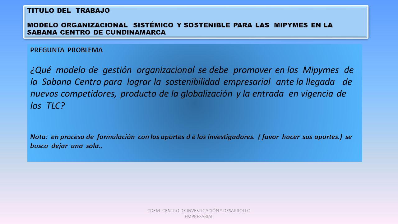 TITULO DEL TRABAJO MODELO ORGANIZACIONAL SISTÉMICO Y SOSTENIBLE PARA LAS MIPYMES EN LA SABANA CENTRO DE CUNDINAMARCA TITULO DEL TRABAJO MODELO ORGANIZACIONAL SISTÉMICO Y SOSTENIBLE PARA LAS MIPYMES EN LA SABANA CENTRO DE CUNDINAMARCA PREGUNTA PROBLEMA ¿Qué modelo de gestión organizacional se debe promover en las Mipymes de la Sabana Centro para lograr la sostenibilidad empresarial ante la llegada de nuevos competidores, producto de la globalización y la entrada en vigencia de los TLC.