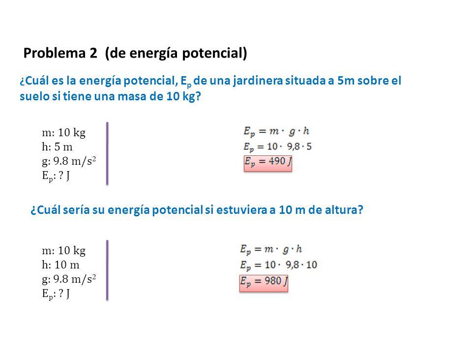 ¿ Cuál es la energía potencial, E p de una jardinera situada a 5m sobre el suelo si tiene una masa de 10 kg? Problema 2 (de energía potencial) m: 10 k
