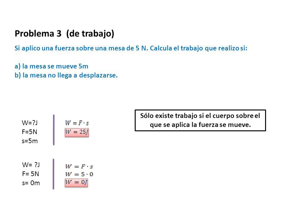 Si aplico una fuerza sobre una mesa de 5 N. Calcula el trabajo que realizo si: a) la mesa se mueve 5m b) la mesa no llega a desplazarse. W=?J F=5N s=5