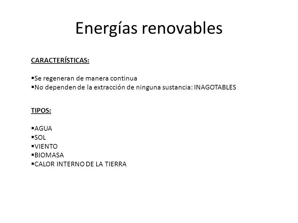 Energías renovables CARACTERÍSTICAS: Se regeneran de manera continua No dependen de la extracción de ninguna sustancia: INAGOTABLES TIPOS: AGUA SOL VI
