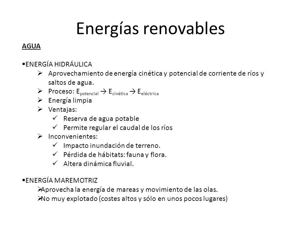 AGUA ENERGÍA HIDRÁULICA Aprovechamiento de energía cinética y potencial de corriente de ríos y saltos de agua. Proceso: E potencial E cinética E eléct