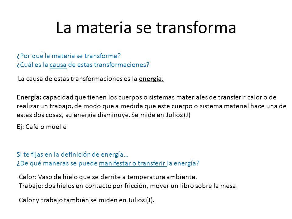 La materia se transforma La causa de estas transformaciones es la energía. Energía: capacidad que tienen los cuerpos o sistemas materiales de transfer