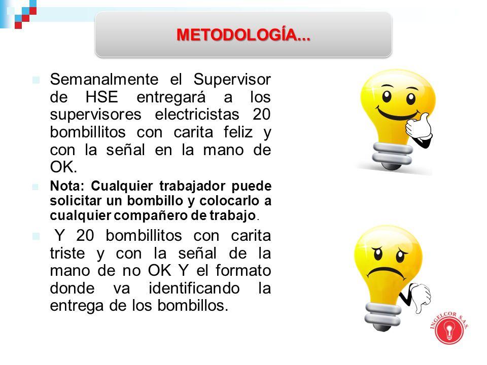 Semanalmente el Supervisor de HSE entregará a los supervisores electricistas 20 bombillitos con carita feliz y con la señal en la mano de OK.