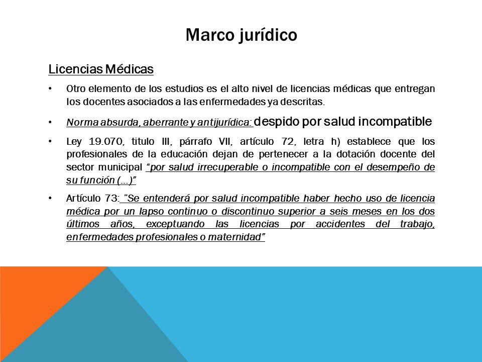 Marco jurídico Licencias Médicas Otro elemento de los estudios es el alto nivel de licencias médicas que entregan los docentes asociados a las enferme