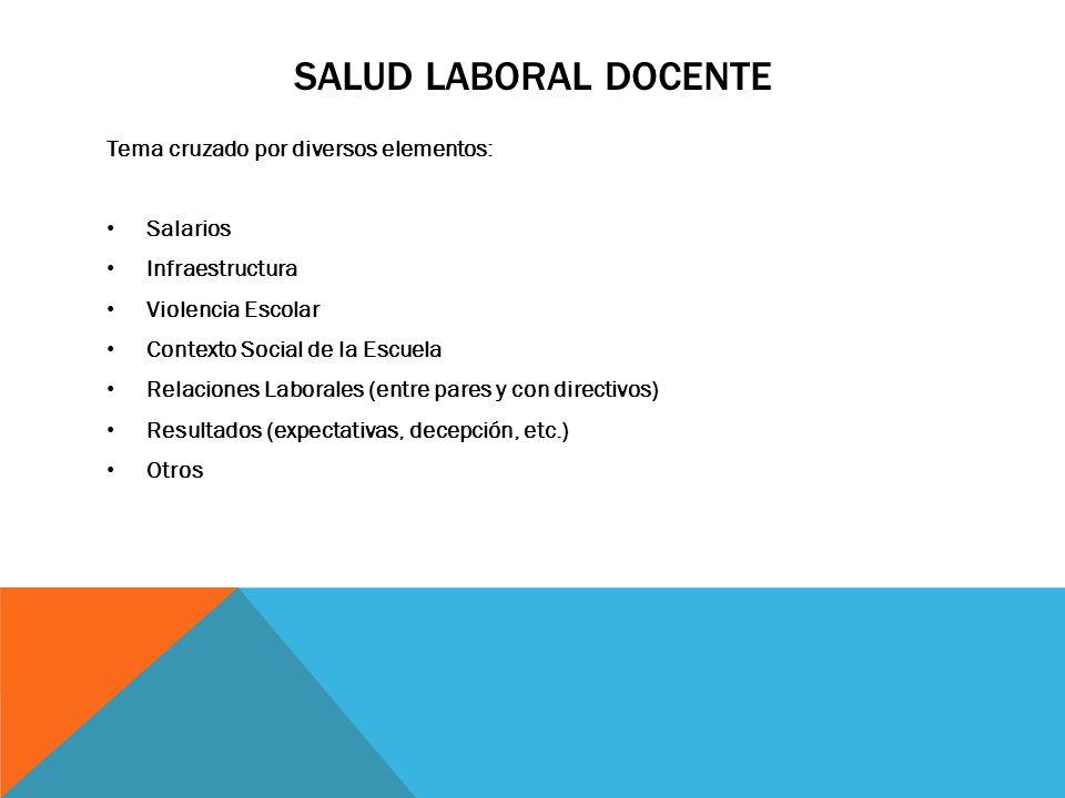 SALUD LABORAL DOCENTE Tema cruzado por diversos elementos: Salarios Infraestructura Violencia Escolar Contexto Social de la Escuela Relaciones Laboral