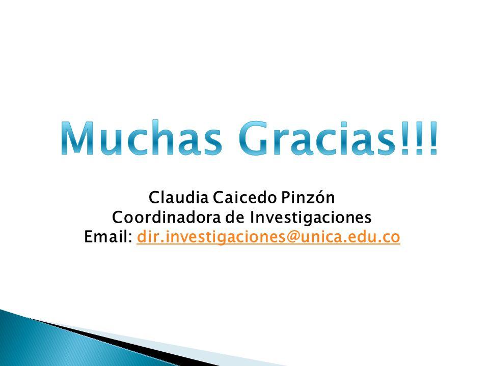 Claudia Caicedo Pinzón Coordinadora de Investigaciones Email: dir.investigaciones@unica.edu.codir.investigaciones@unica.edu.co