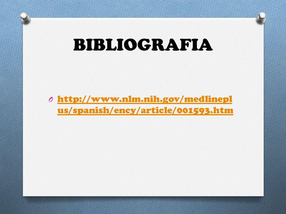 BIBLIOGRAFIA O http://www.nlm.nih.gov/medlinepl us/spanish/ency/article/001593.htm http://www.nlm.nih.gov/medlinepl us/spanish/ency/article/001593.htm