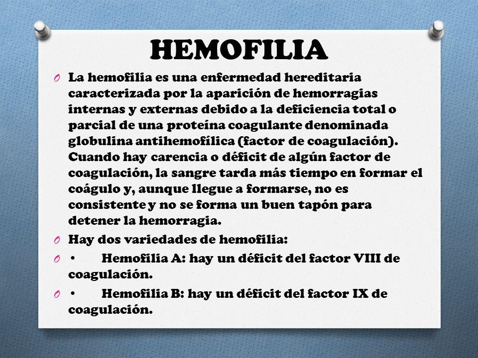 HEMOFILIA O La hemofilia es una enfermedad hereditaria caracterizada por la aparición de hemorragias internas y externas debido a la deficiencia total