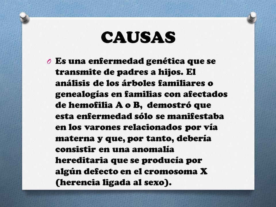 CAUSAS O Es una enfermedad genética que se transmite de padres a hijos. El análisis de los árboles familiares o genealogías en familias con afectados