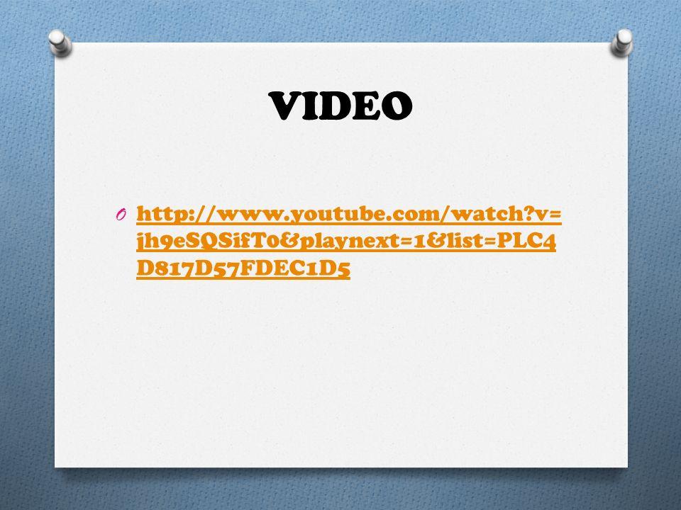 VIDEO O http://www.youtube.com/watch?v= jh9eSQSifT0&playnext=1&list=PLC4 D817D57FDEC1D5 http://www.youtube.com/watch?v= jh9eSQSifT0&playnext=1&list=PL