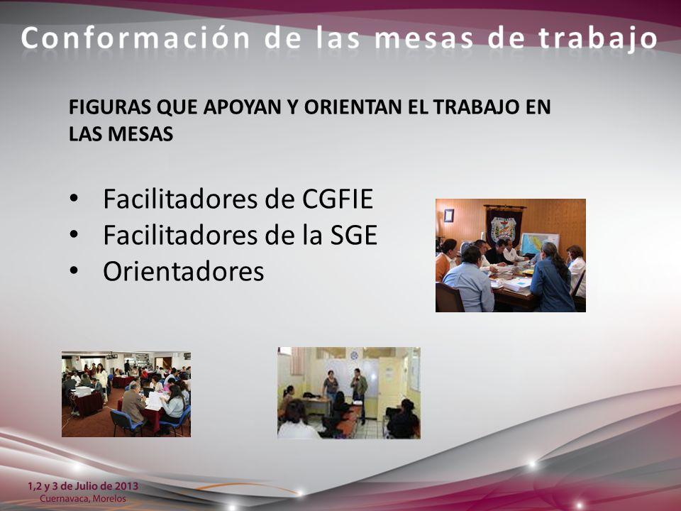 Facilitadores de CGFIE Facilitadores de la SGE Orientadores FIGURAS QUE APOYAN Y ORIENTAN EL TRABAJO EN LAS MESAS