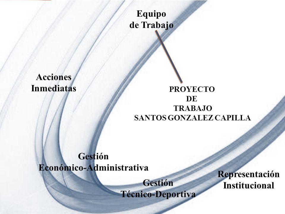 Page 1 Powerpoint Templates PROYECTO DE TRABAJO SANTOS GONZALEZ CAPILLA Equipo de Trabajo Acciones Inmediatas Gestión Económico-Administrativa Gestión