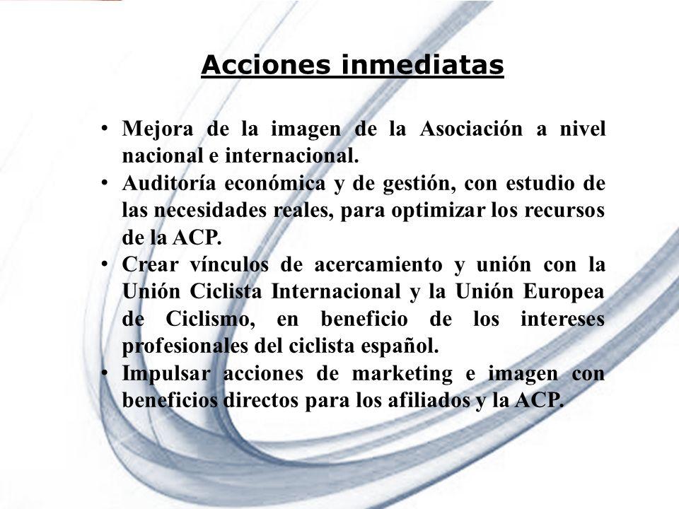 Page 4 Powerpoint Templates Acciones inmediatas Mejora de la imagen de la Asociación a nivel nacional e internacional. Auditoría económica y de gestió