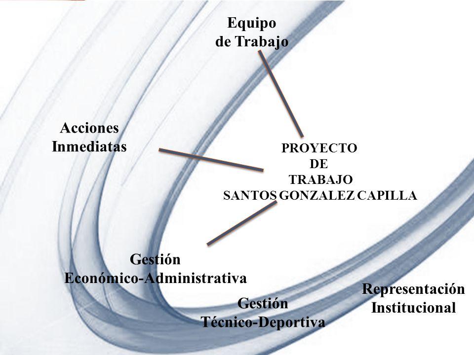 Page 5 Powerpoint Templates PROYECTO DE TRABAJO SANTOS GONZALEZ CAPILLA Equipo de Trabajo Acciones Inmediatas Gestión Económico-Administrativa Gestión