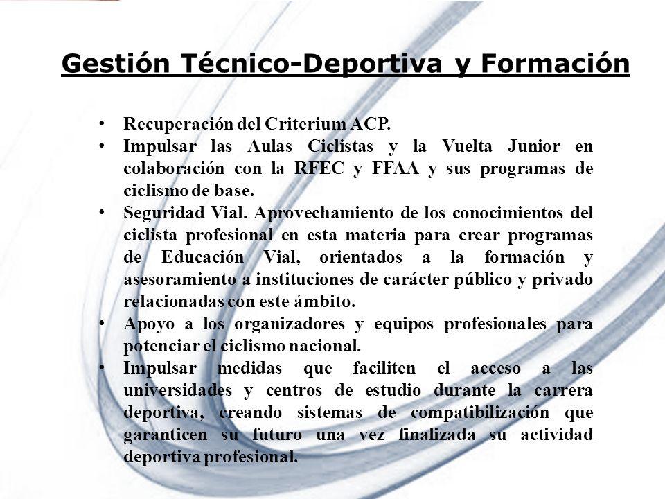 Page 8 Powerpoint Templates Gestión Técnico-Deportiva y Formación Recuperación del Criterium ACP. Impulsar las Aulas Ciclistas y la Vuelta Junior en c