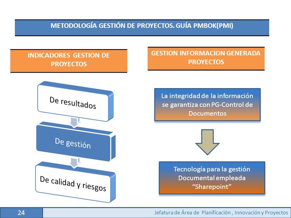 24 Jefatura de Área de Planificación, Innovación y Proyectos METODOLOGÍA GESTIÓN DE PROYECTOS.
