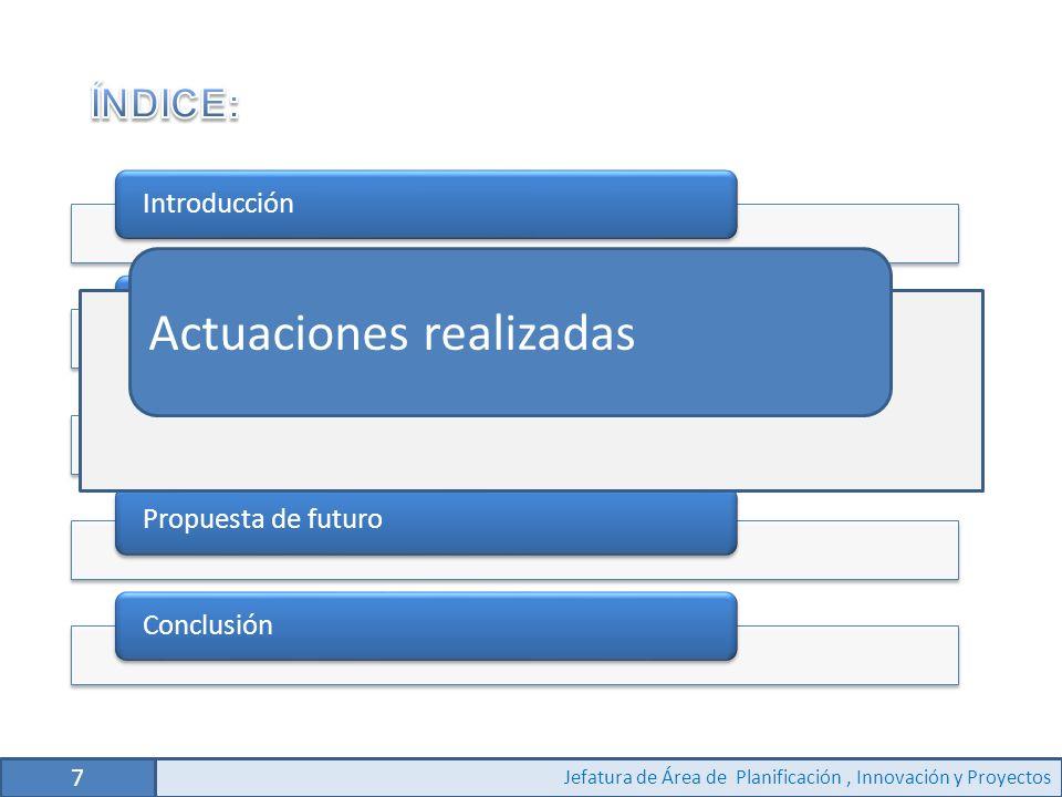 7 Jefatura de Área de Planificación, Innovación y Proyectos IntroducciónAnálisis y descripción del puestoActuaciones realizadasPropuesta de futuroConclusión Actuaciones realizadas