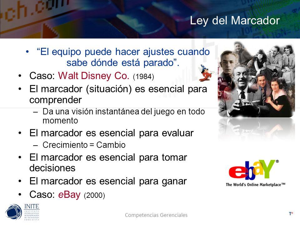 Competencias Gerenciales Ley del Marcador El equipo puede hacer ajustes cuando sabe dónde está parado. Caso: Walt Disney Co. (1984) El marcador (situa