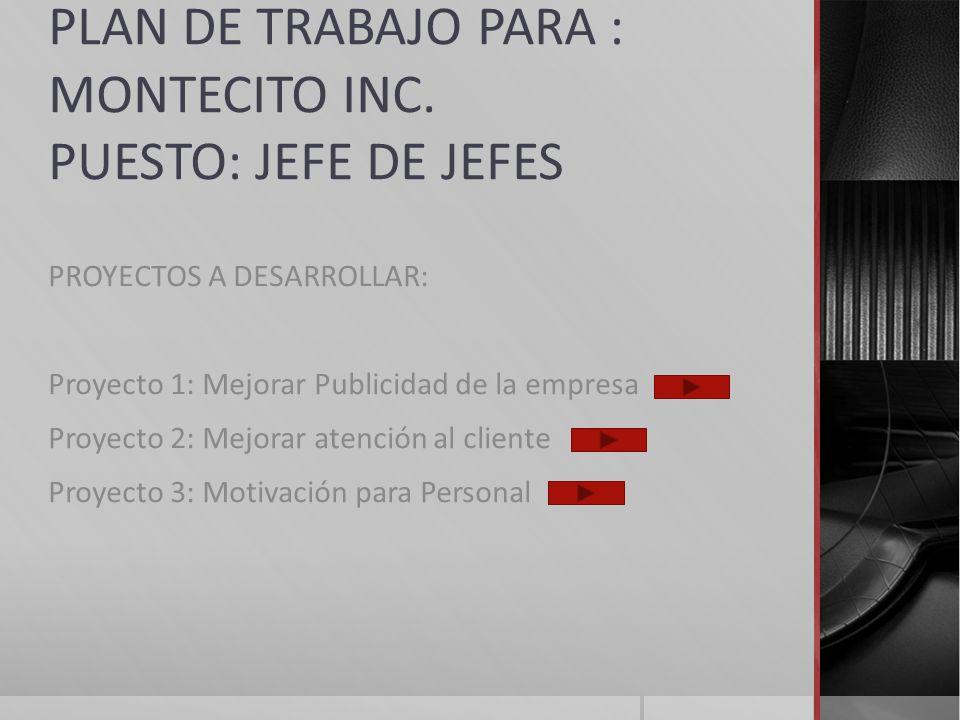 PLAN DE TRABAJO PARA : MONTECITO INC. PUESTO: JEFE DE JEFES PROYECTOS A DESARROLLAR: Proyecto 1: Mejorar Publicidad de la empresa Proyecto 2: Mejorar