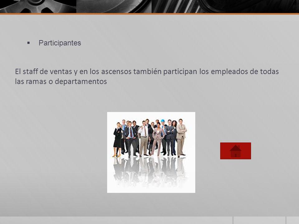 Participantes El staff de ventas y en los ascensos también participan los empleados de todas las ramas o departamentos