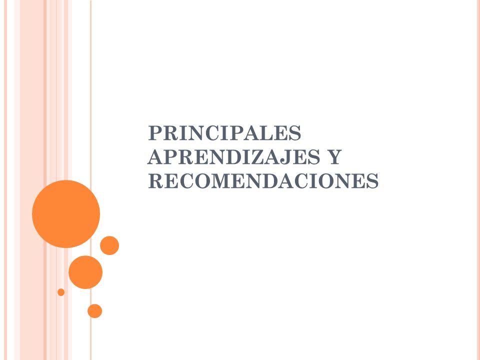 PRINCIPALES APRENDIZAJES Y RECOMENDACIONES