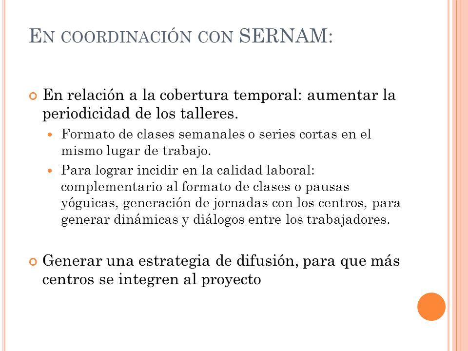 E N COORDINACIÓN CON SERNAM: En relación a la cobertura temporal: aumentar la periodicidad de los talleres.