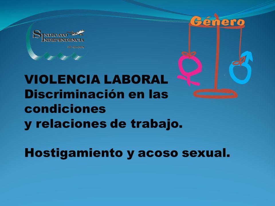VIOLENCIA LABORAL Discriminación en las condiciones y relaciones de trabajo. Hostigamiento y acoso sexual.