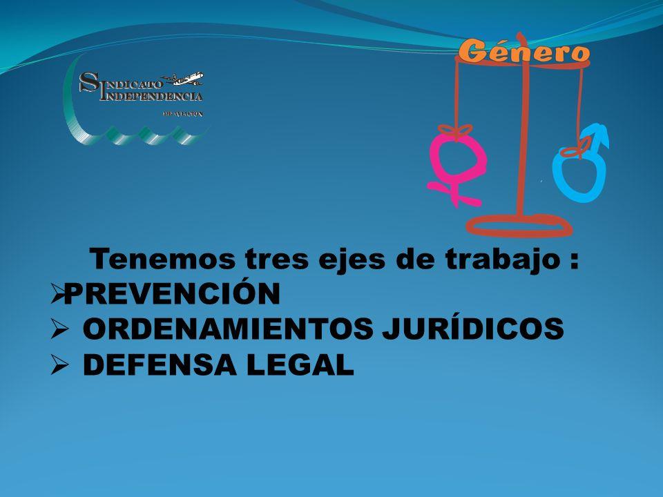 Tenemos tres ejes de trabajo : PREVENCIÓN ORDENAMIENTOS JURÍDICOS DEFENSA LEGAL