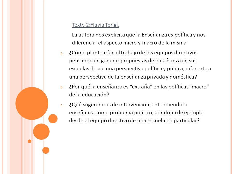 Texto 2:Flavia Terigi. La autora nos explicita que la Enseñanza es política y nos diferencia el aspecto micro y macro de la misma a. ¿Cómo plantearían