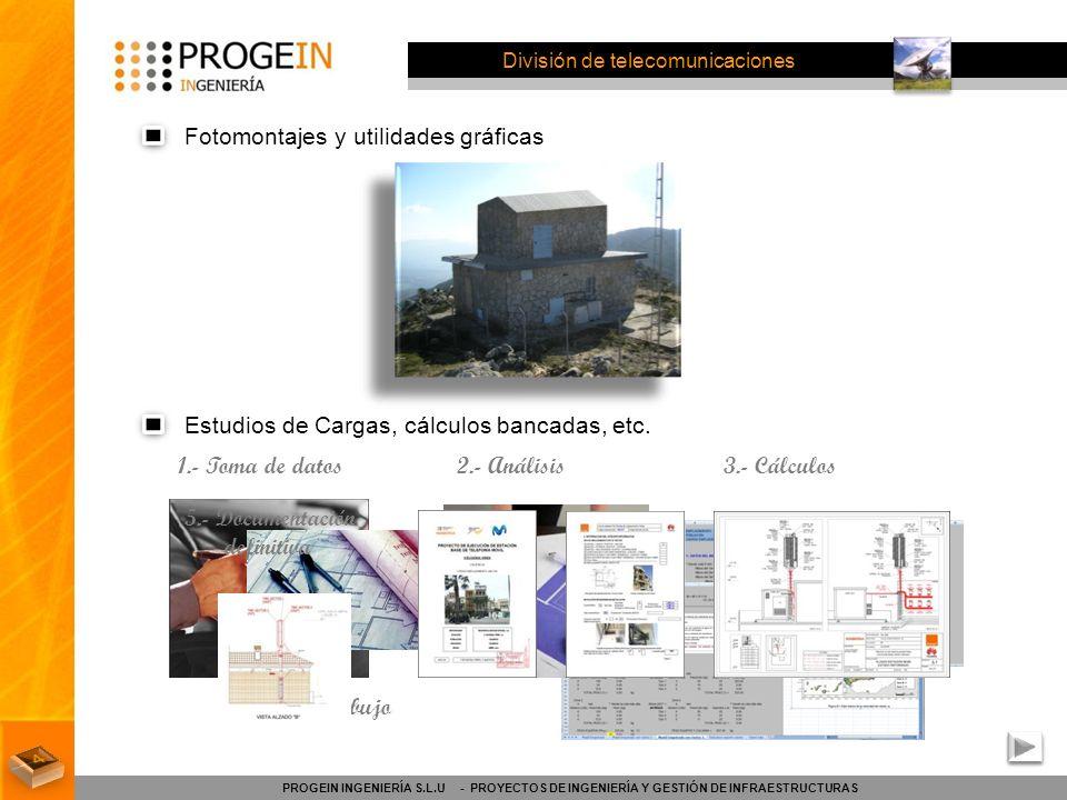 División de telecomunicaciones Fotomontajes y utilidades gráficas PROGEIN INGENIERÍA S.L.U - PROYECTOS DE INGENIERÍA Y GESTIÓN DE INFRAESTRUCTURAS Est