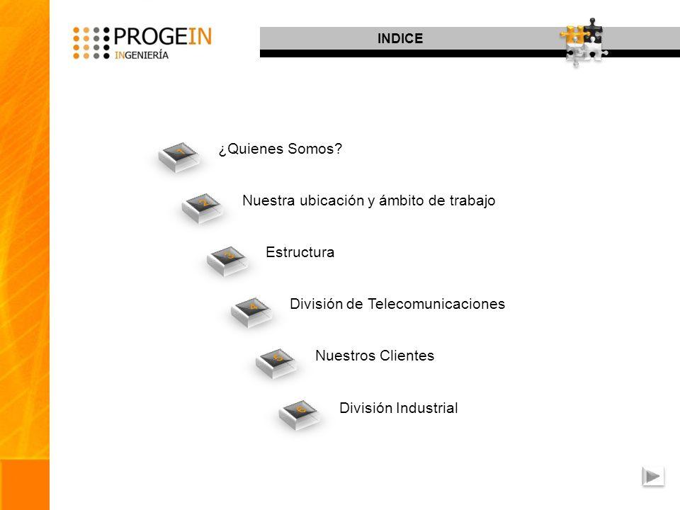 INDICE ¿Quienes Somos? Nuestra ubicación y ámbito de trabajo Estructura División de Telecomunicaciones Nuestros Clientes División Industrial