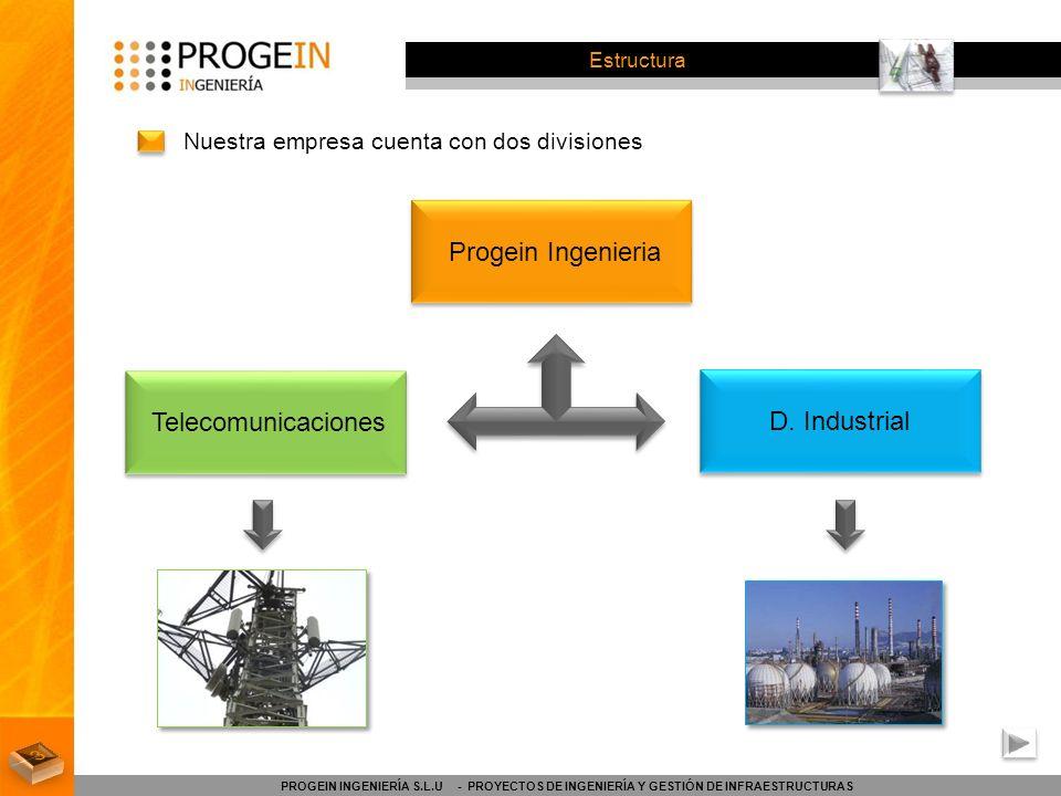 Estructura Nuestra empresa cuenta con dos divisiones PROGEIN INGENIERÍA S.L.U - PROYECTOS DE INGENIERÍA Y GESTIÓN DE INFRAESTRUCTURAS Progein Ingenier