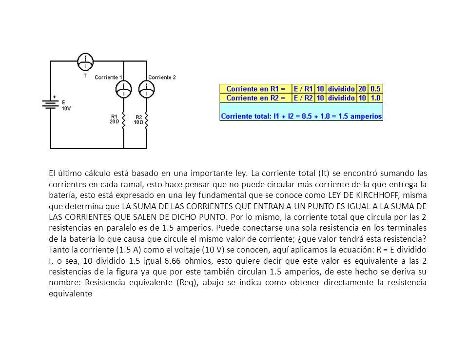 El último cálculo está basado en una importante ley. La corriente total (It) se encontró sumando las corrientes en cada ramal, esto hace pensar que no