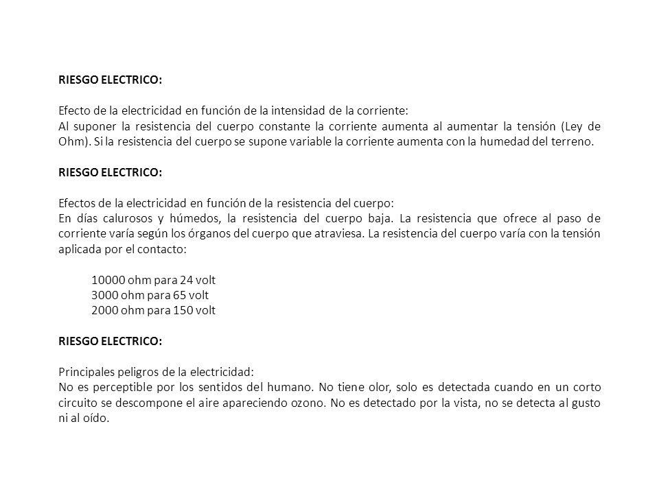 RIESGO ELECTRICO: Efecto de la electricidad en función de la intensidad de la corriente: Al suponer la resistencia del cuerpo constante la corriente a