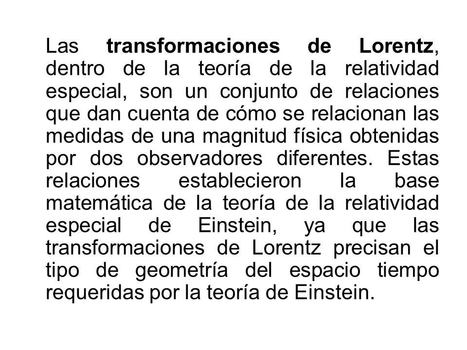 Las transformaciones de Lorentz, dentro de la teoría de la relatividad especial, son un conjunto de relaciones que dan cuenta de cómo se relacionan la