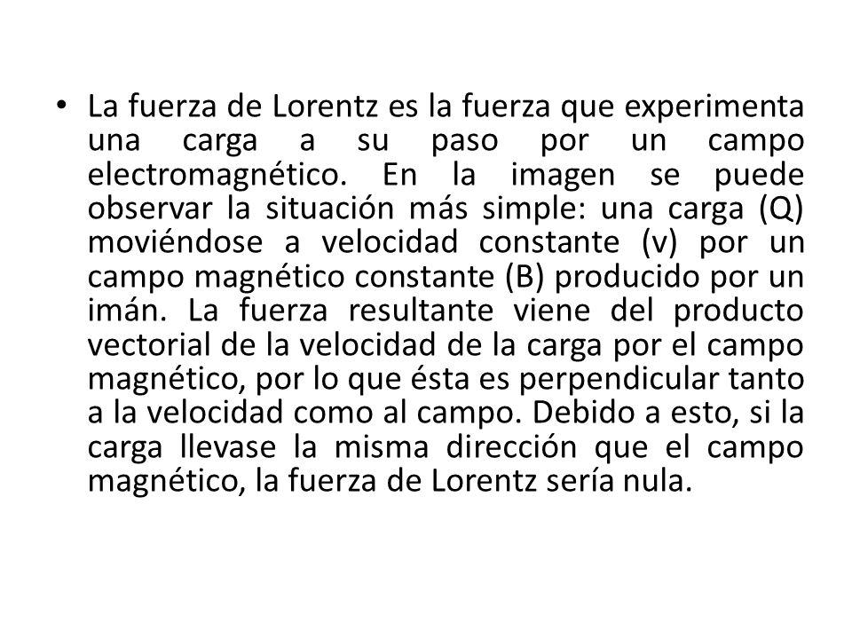 La fuerza de Lorentz es la fuerza que experimenta una carga a su paso por un campo electromagnético. En la imagen se puede observar la situación más s