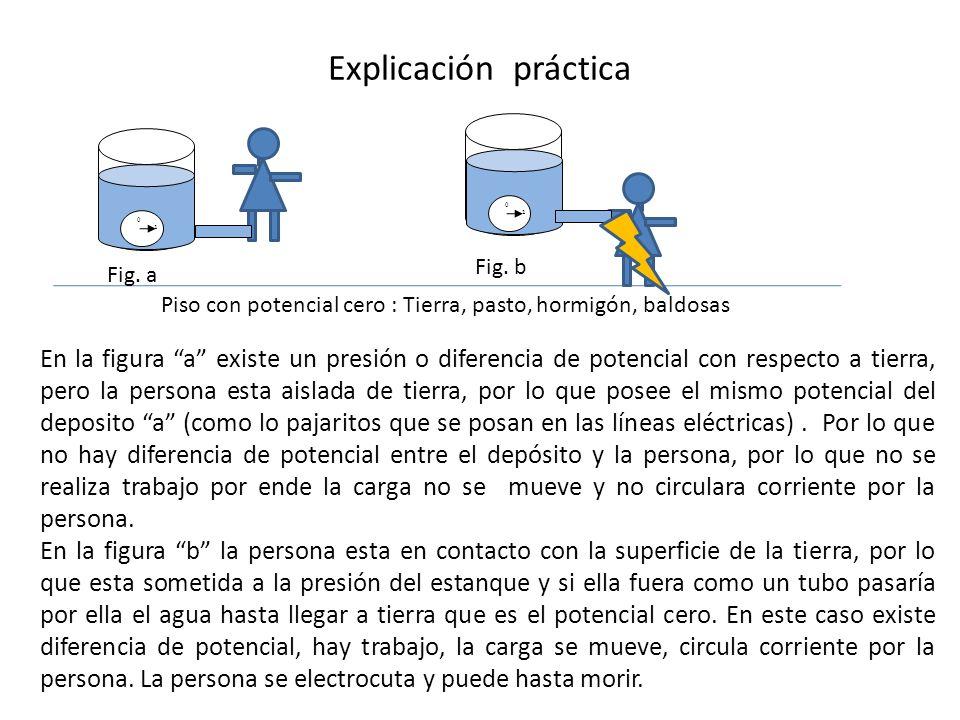 Explicación práctica 1 0 1 0 Piso con potencial cero : Tierra, pasto, hormigón, baldosas Fig. a Fig. b En la figura a existe un presión o diferencia d
