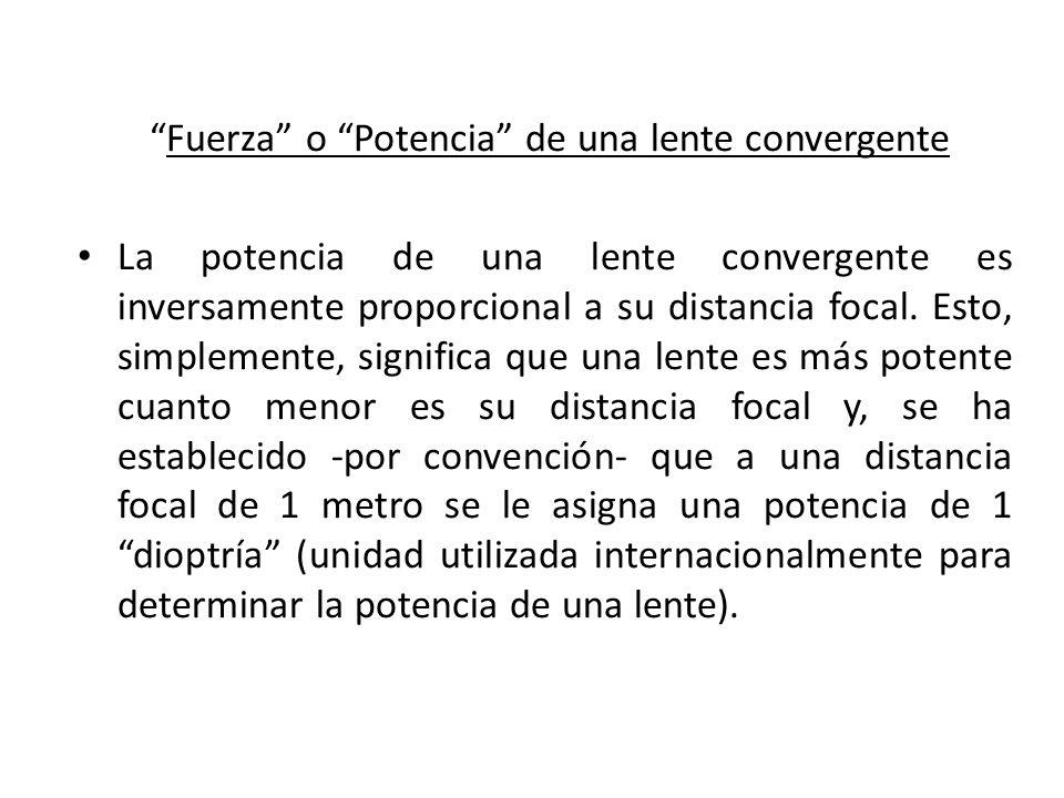 Fuerza o Potencia de una lente convergente Fuerza o Potencia de una lente convergente La potencia de una lente convergente es inversamente proporciona
