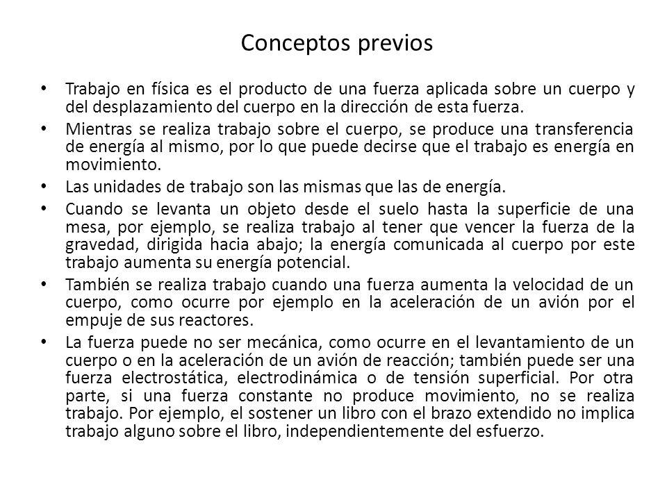 Conceptos previos Trabajo en física es el producto de una fuerza aplicada sobre un cuerpo y del desplazamiento del cuerpo en la dirección de esta fuer