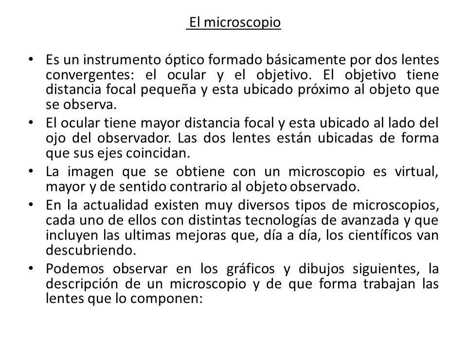 El microscopio Es un instrumento óptico formado básicamente por dos lentes convergentes: el ocular y el objetivo. El objetivo tiene distancia focal pe