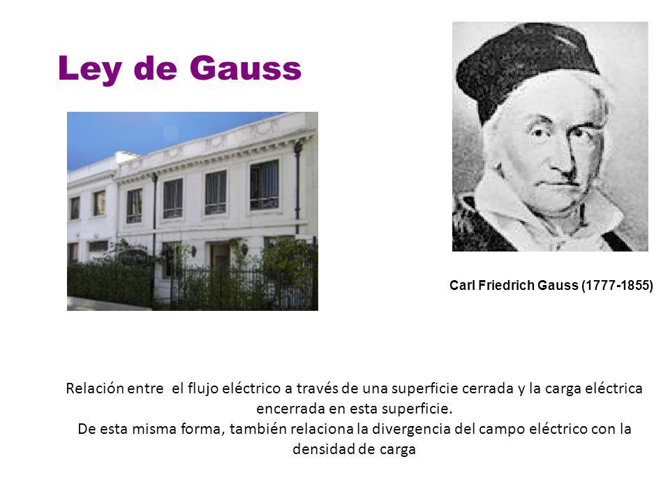 Carl Friedrich Gauss (1777-1855) Ley de Gauss Relación entre el flujo eléctrico a través de una superficie cerrada y la carga eléctrica encerrada en e