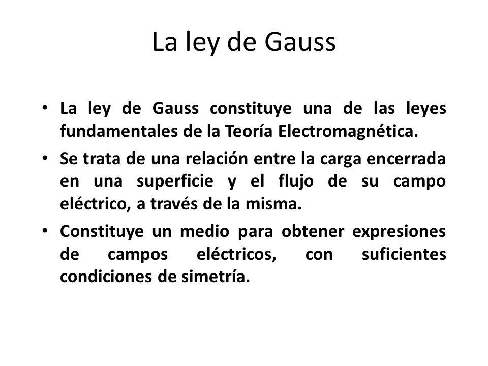 La ley de Gauss La ley de Gauss constituye una de las leyes fundamentales de la Teoría Electromagnética. Se trata de una relación entre la carga encer