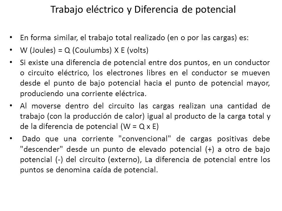 Trabajo eléctrico y Diferencia de potencial En forma similar, el trabajo total realizado (en o por las cargas) es: W (Joules) = Q (Coulumbs) X E (volt
