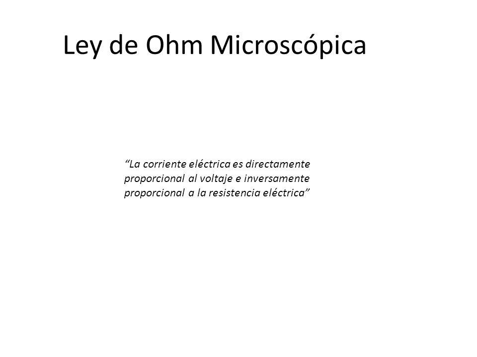 Ley de Ohm Microscópica La corriente eléctrica es directamente proporcional al voltaje e inversamente proporcional a la resistencia eléctrica