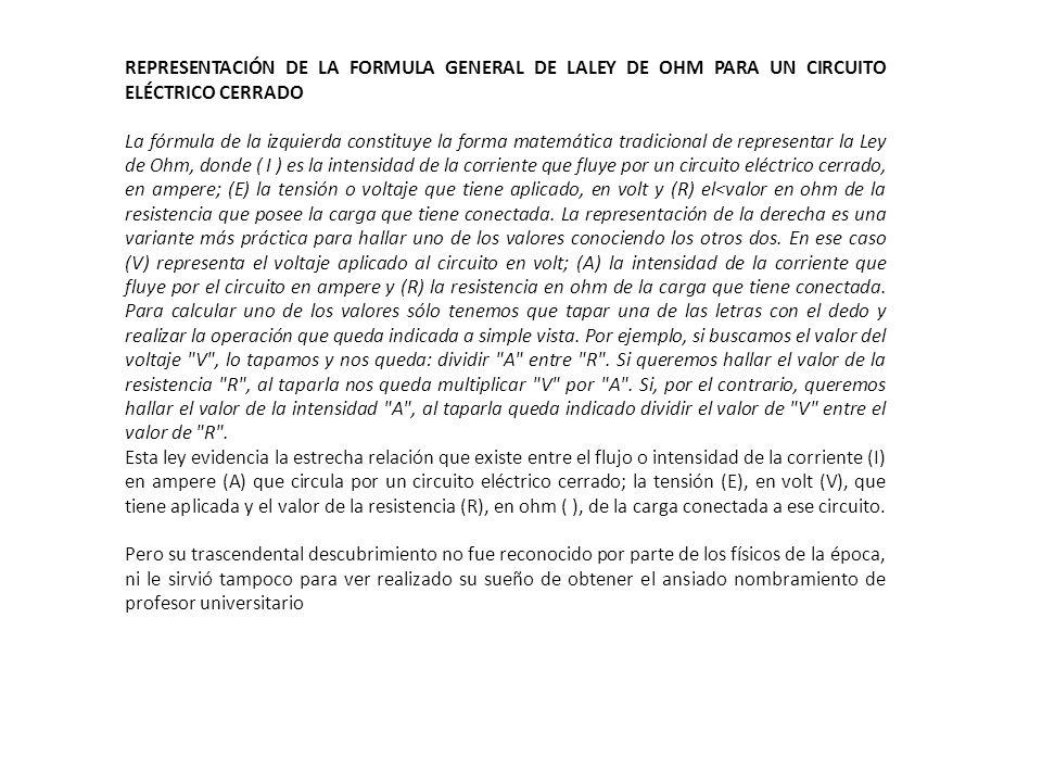 REPRESENTACIÓN DE LA FORMULA GENERAL DE LALEY DE OHM PARA UN CIRCUITO ELÉCTRICO CERRADO La fórmula de la izquierda constituye la forma matemática trad