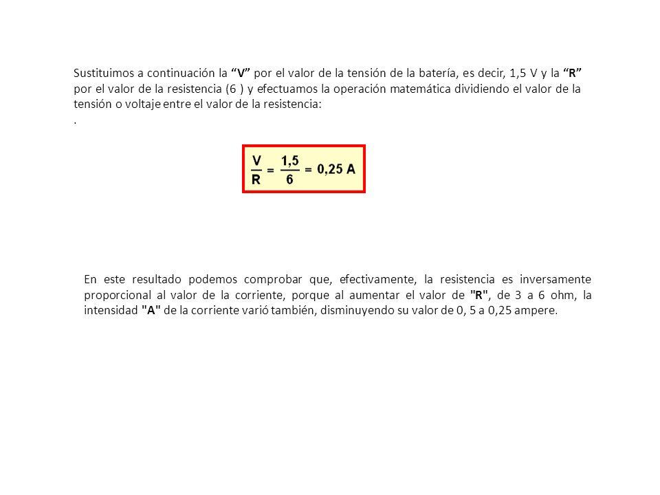 Sustituimos a continuación la V por el valor de la tensión de la batería, es decir, 1,5 V y la R por el valor de la resistencia (6 ) y efectuamos la o